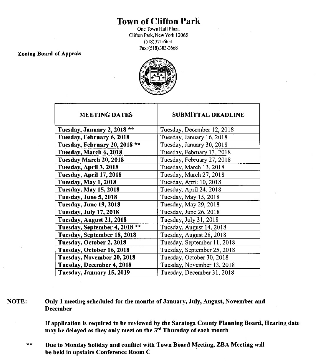 2018 Zoning Board of Appeals Meetings