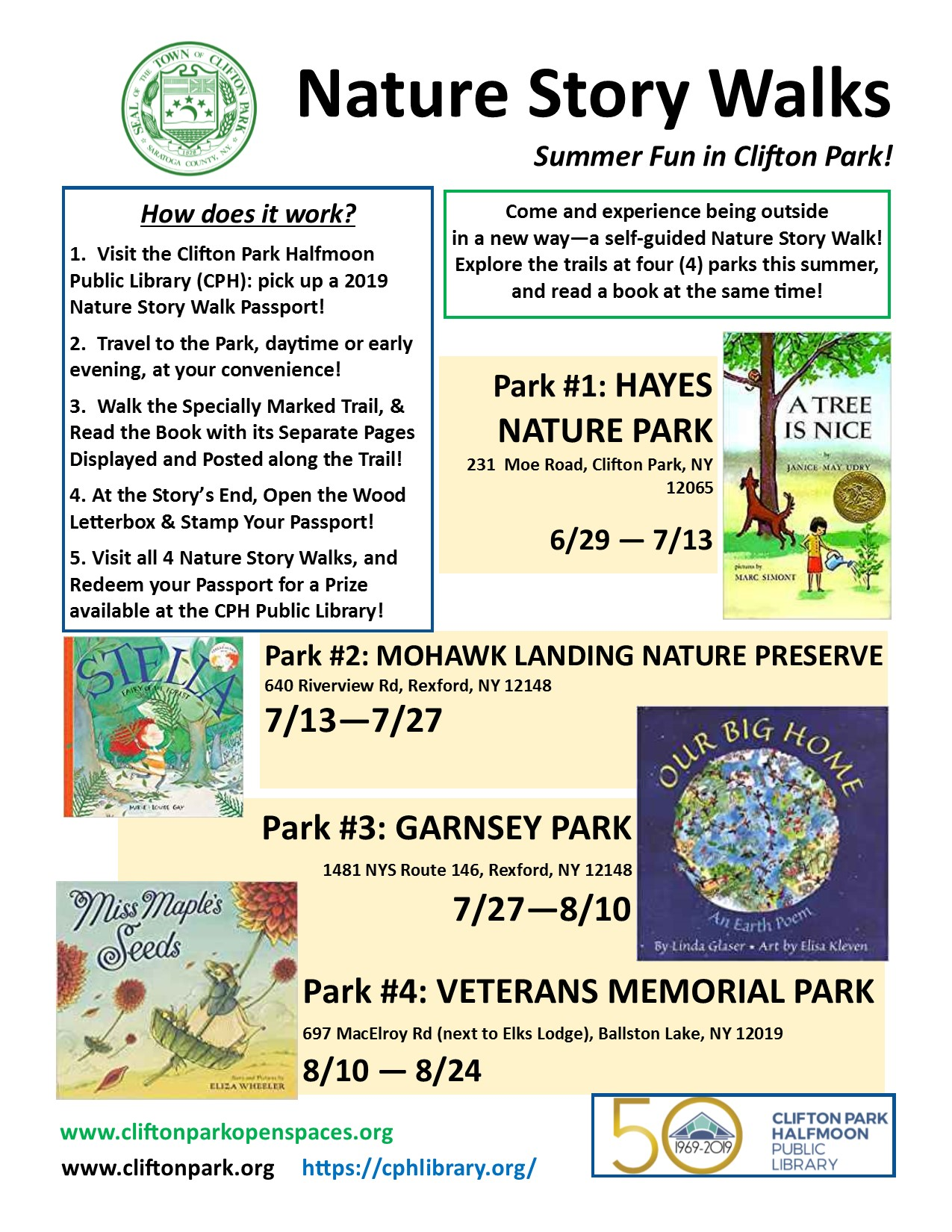 2019 Summer - Nature Story Walks in Clifton Park!